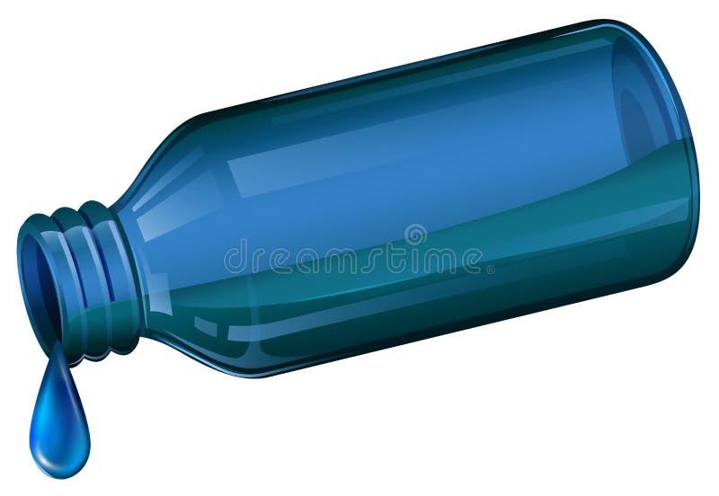 En blå medicinsk flaska stock illustrationer