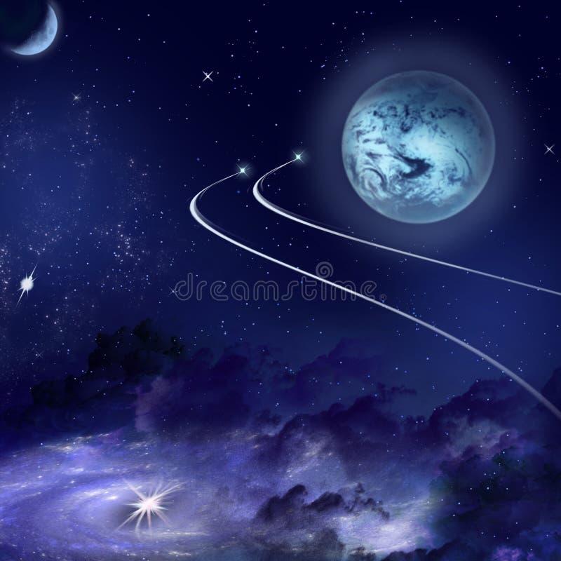 En blå planet och en nebulosa i en avlägsen galax stock illustrationer