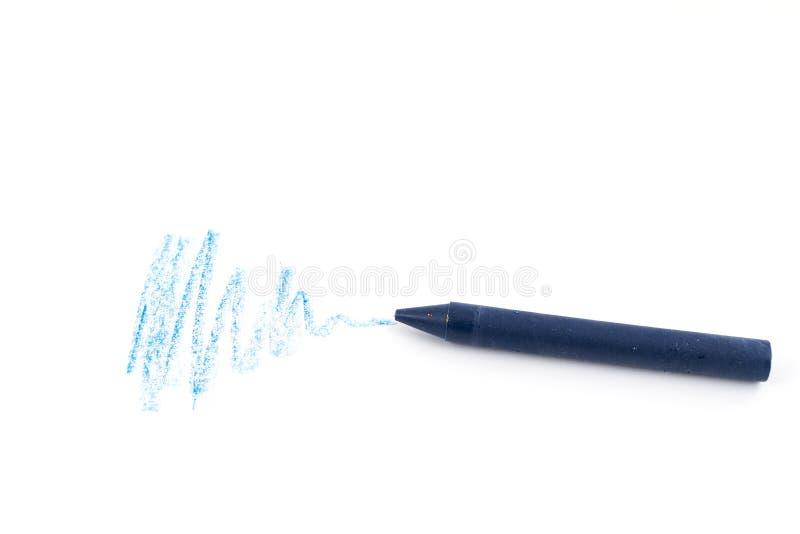 En blå vaxfärgpenna royaltyfria foton