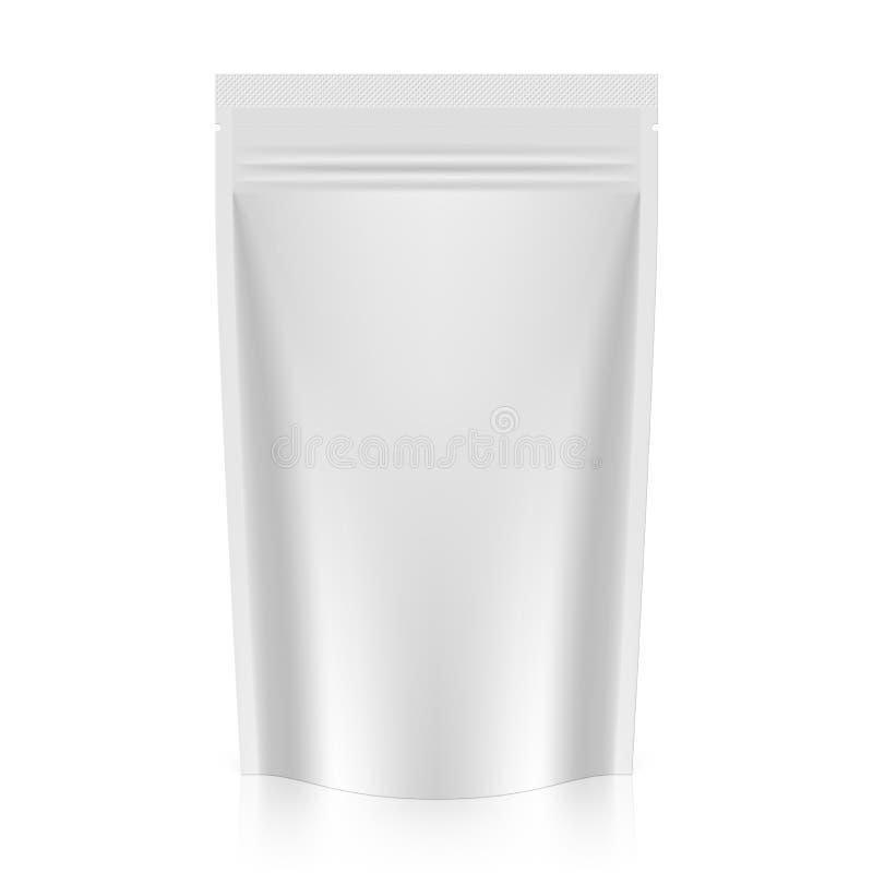 En blanco levántese la hoja o el envase de plástico de la bolsa con la cremallera stock de ilustración