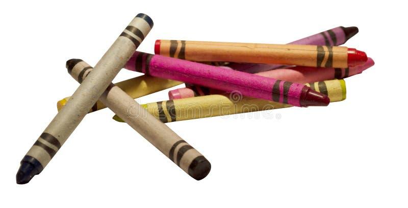 En blandad färgfärgpenna på en bakgrund arkivfoton
