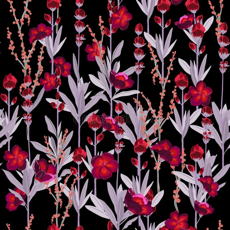 En blom- modell för trädgårds- natt i många sort av blommor Trop vektor illustrationer
