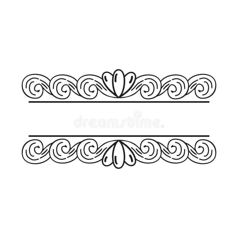 En blom- prydnad för djärv tappning för att betitla vektor illustrationer