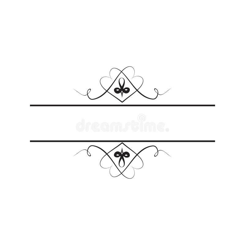 En blom- prydnad för ram för att betitla stock illustrationer