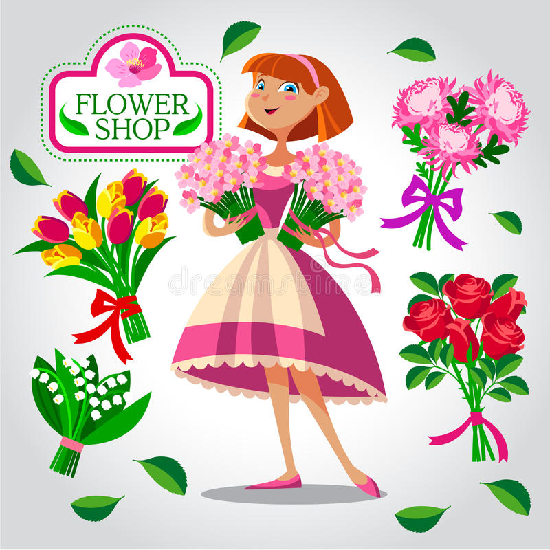 En blomsterhandlareflicka vektor för set för tecknad filmhjärtor polar vektor illustrationer