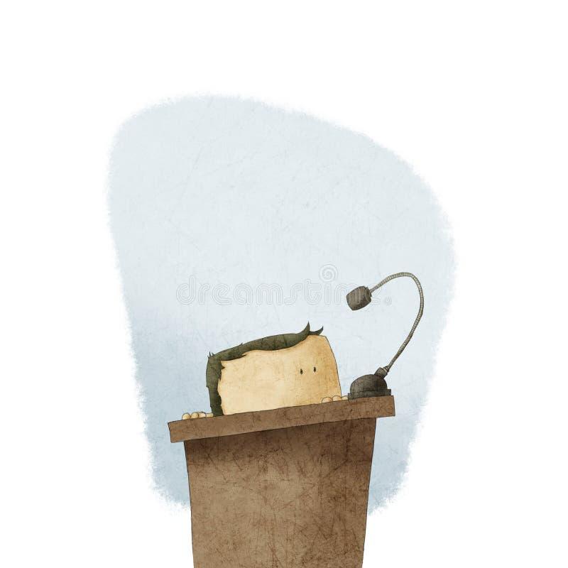 Skygga manen på podiet som ger anförande stock illustrationer