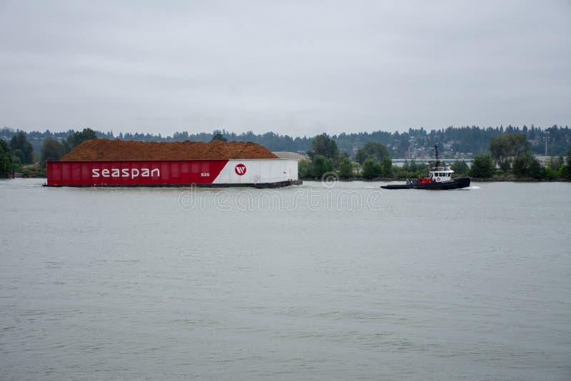 En bogserbåt som drar en Seaspan, rusar i nya Westminster, British Columbia, Kanada som nära ser från kajen i Fraser River royaltyfri foto
