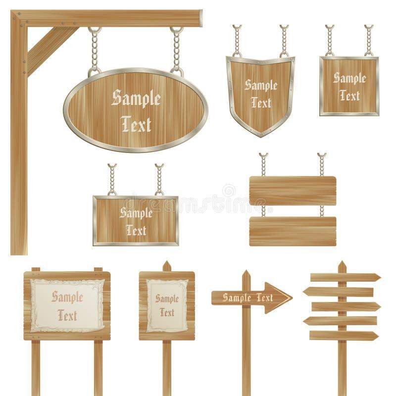en bois blanc d'isolement de vecteur de signe réglé par poteaux illustration de vecteur