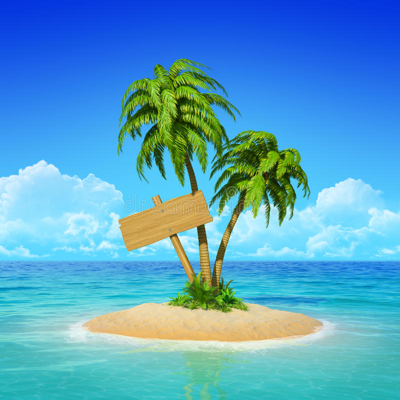 Poteau indicateur en bois sur l'île tropicale avec des paumes. image stock