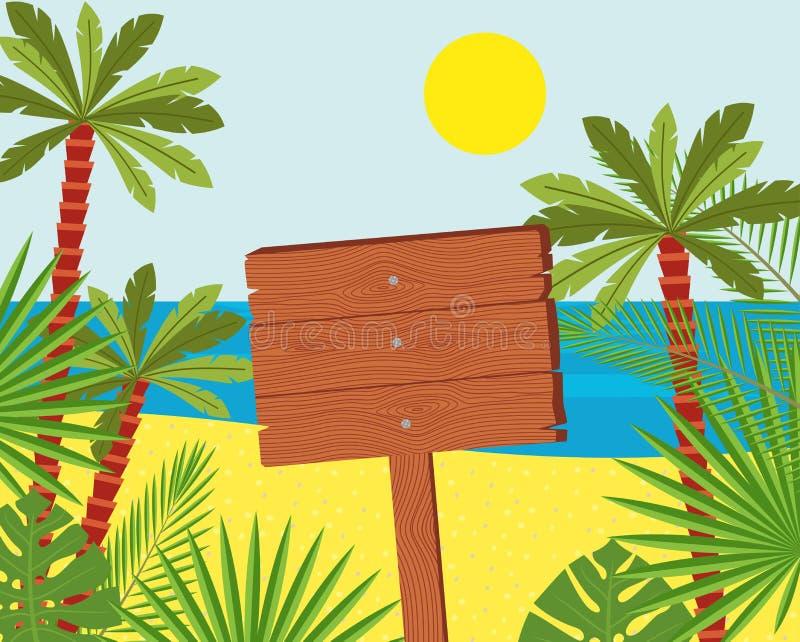 En bois se connecte une belle plage tropicale Illustration d'une enseigne dans le bord de la mer illustration stock