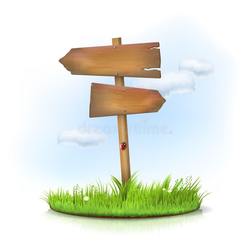 En bois signez dedans l'herbe - carrefour illustration stock