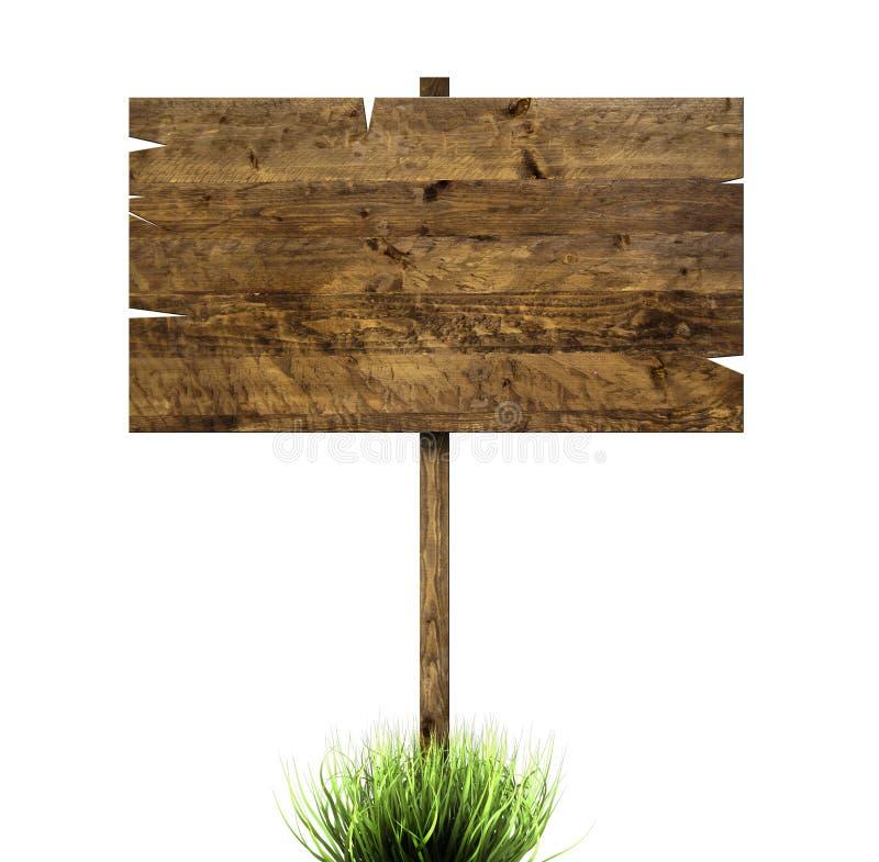 En bois signez dedans l'herbe verte illustration stock