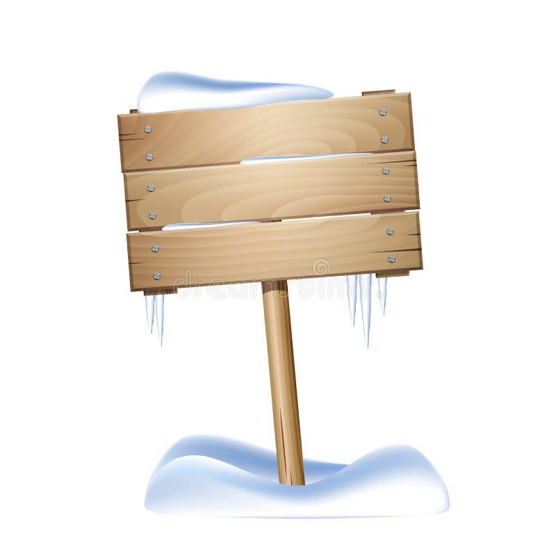 En bois signez dedans la neige illustration de vecteur