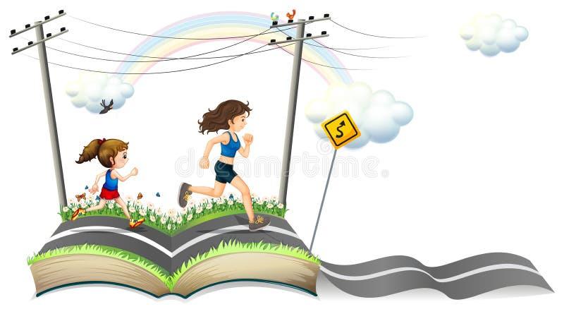 En bok med en berättelse av den smala vägen stock illustrationer