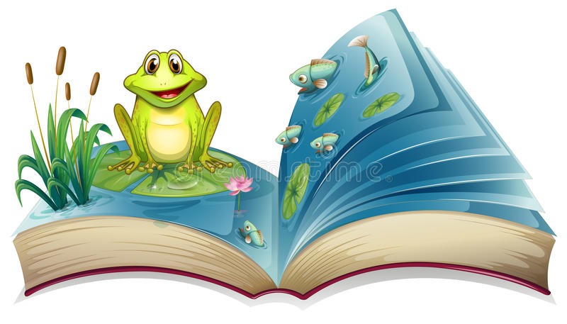En bok med en berättelse av grodan i dammet royaltyfri illustrationer