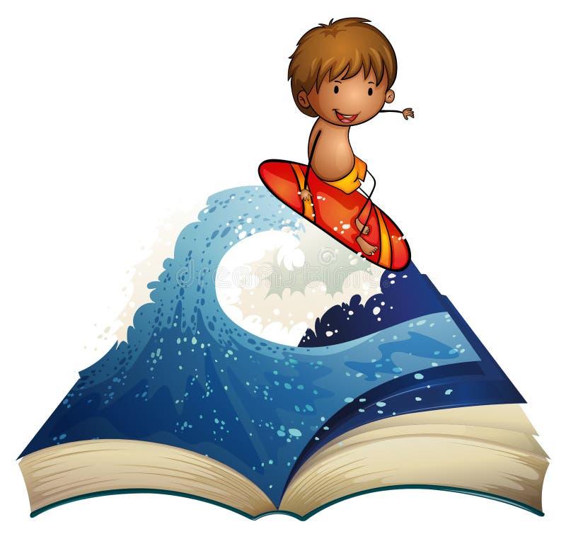 En bok med en berättelse om en surfare vektor illustrationer