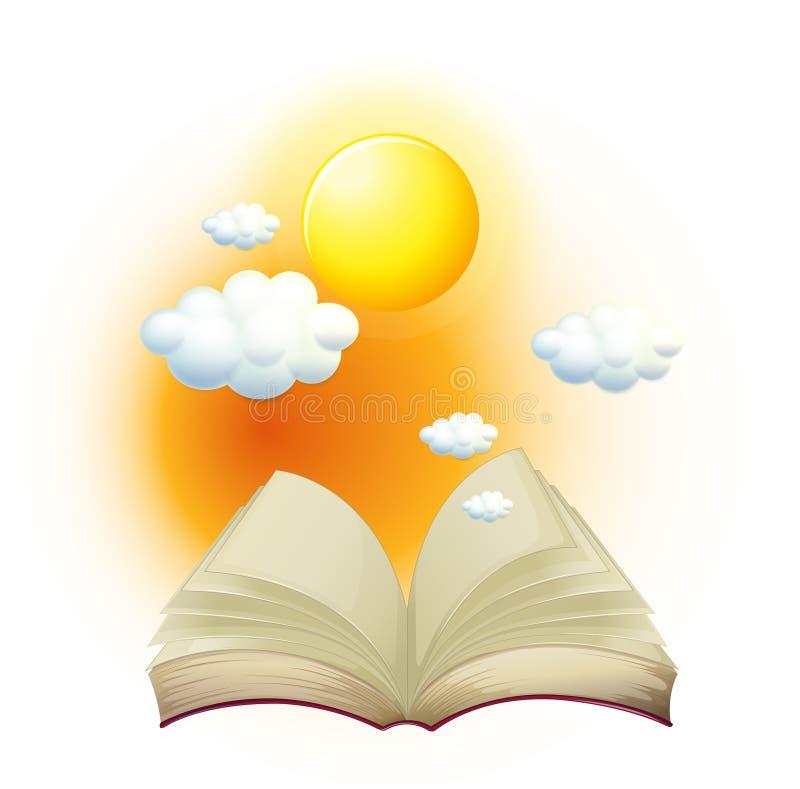 En bok med en berättelse om solen stock illustrationer