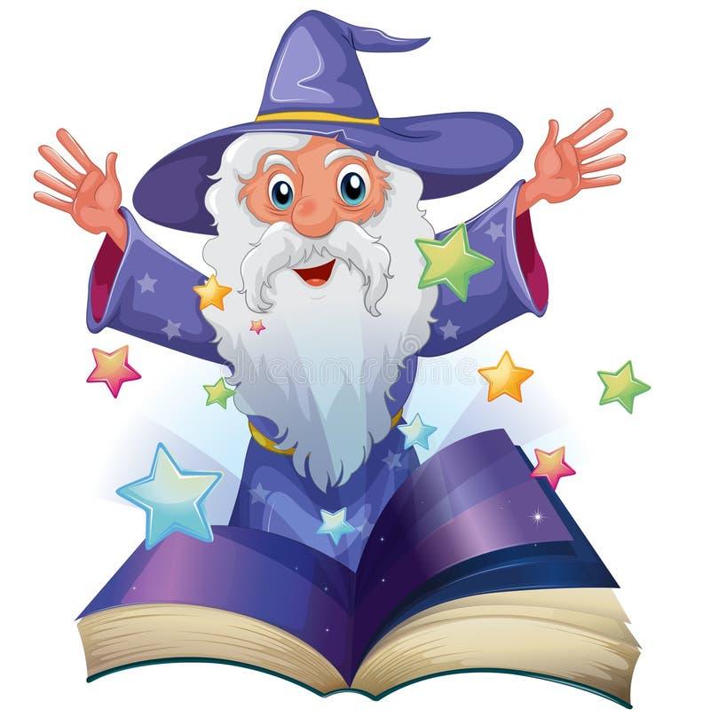 En bok med en bild av en gamal man med många stjärnor vektor illustrationer