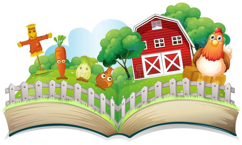 En bok med en bild av en lantgård royaltyfri illustrationer