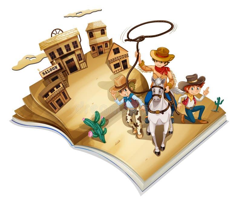 En bok med en bild av tre cowboyer royaltyfri illustrationer