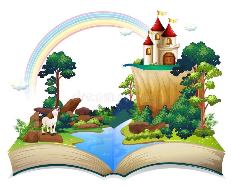 En bok med en slott på skogen stock illustrationer