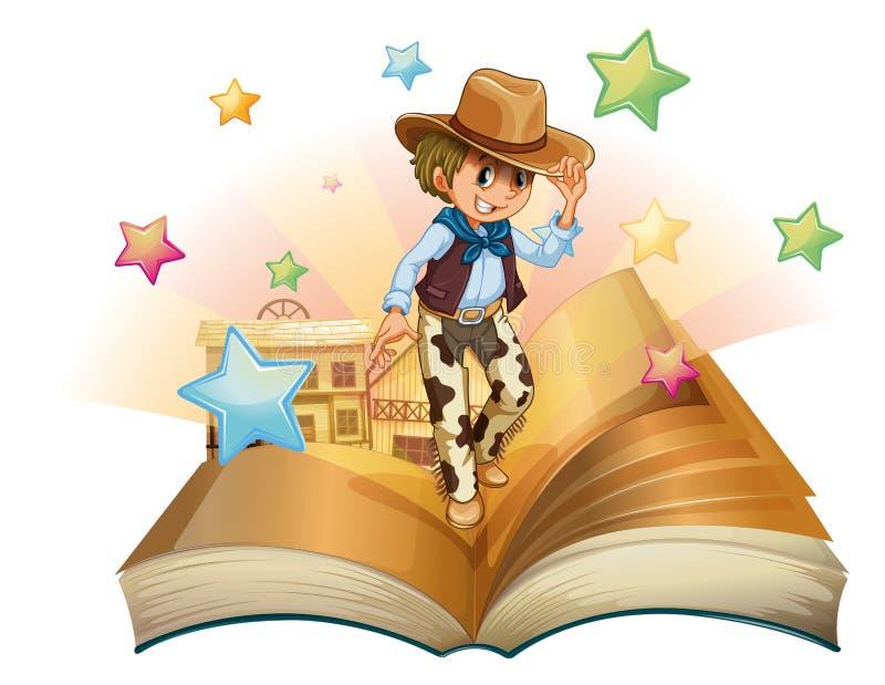 En bok med en ung cowboy som är främst av en salongstång vektor illustrationer