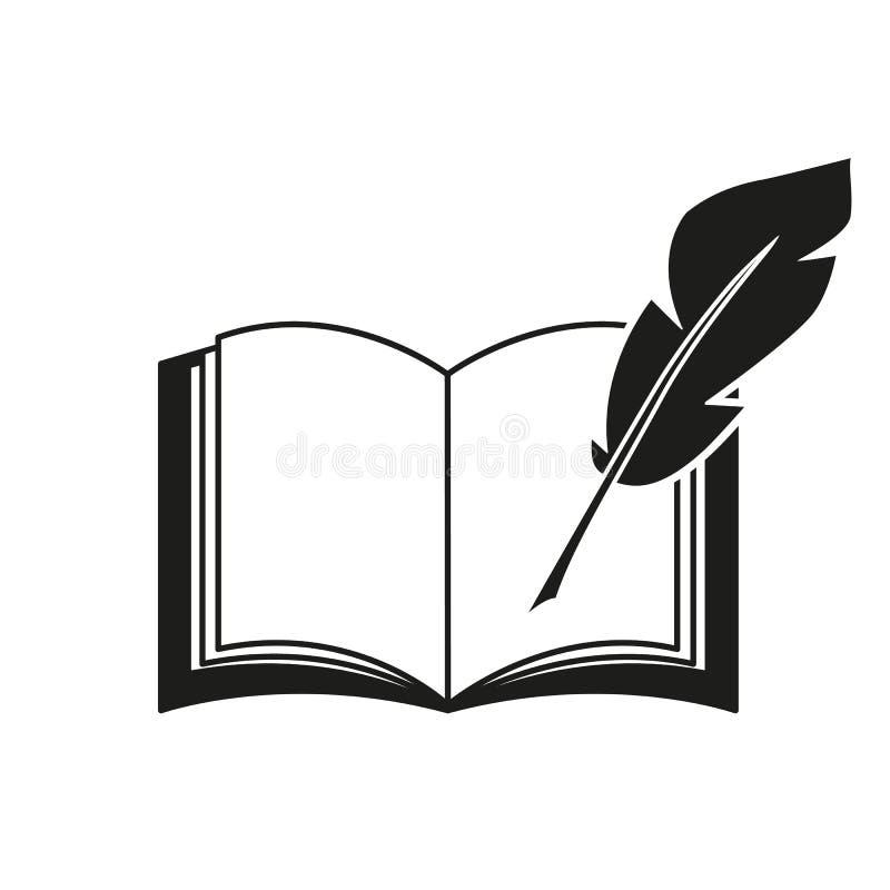 En bok och symboler för en pennfjäder vektor illustrationer
