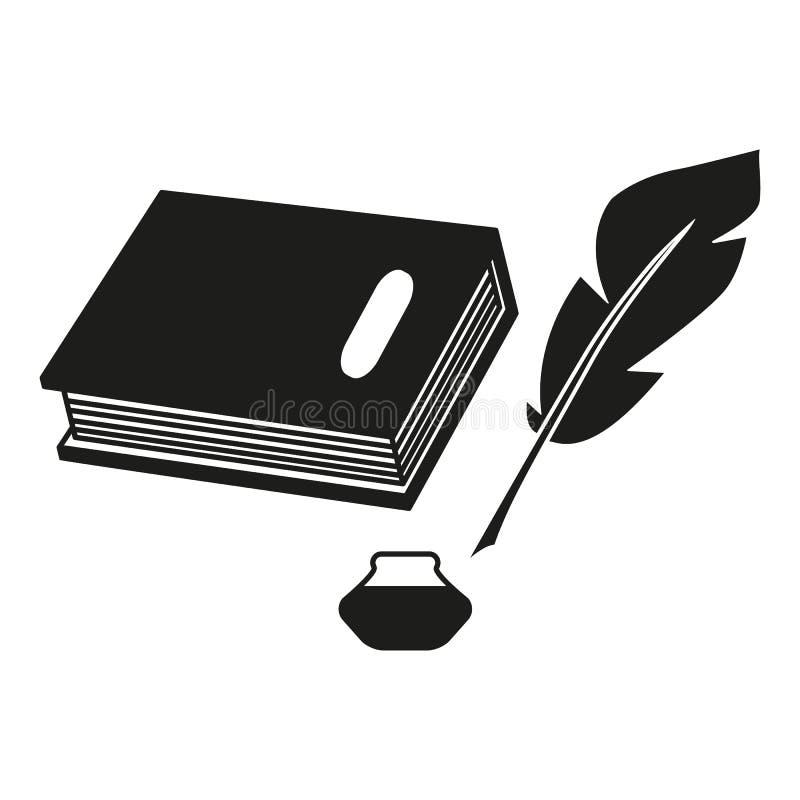 En bok och symboler för en svart för pennfjäder vektor illustrationer