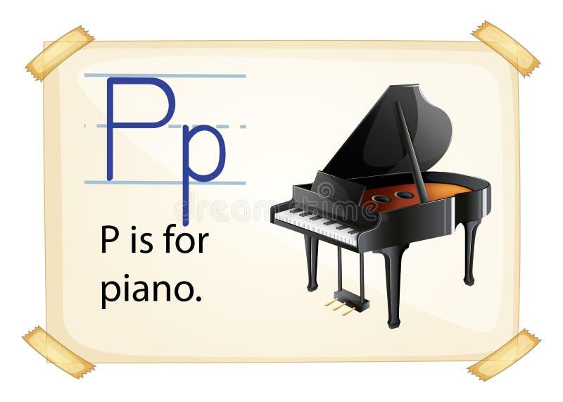 En bokstav P för piano stock illustrationer