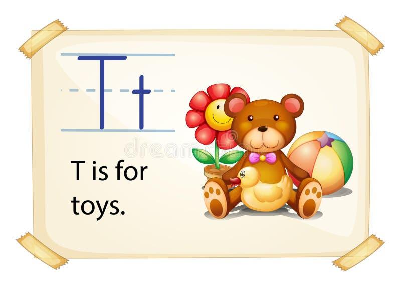 En bokstav T för leksaker vektor illustrationer