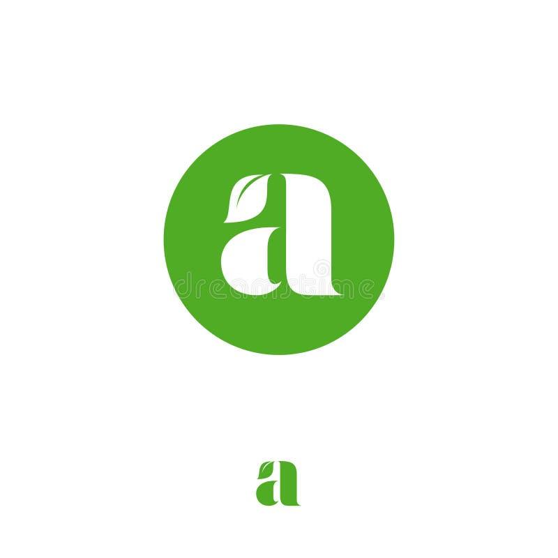 En bokstav, UI-logo Abstrakt bokstav A med bladet Natur-, brunnsort- eller ecologo vektor illustrationer