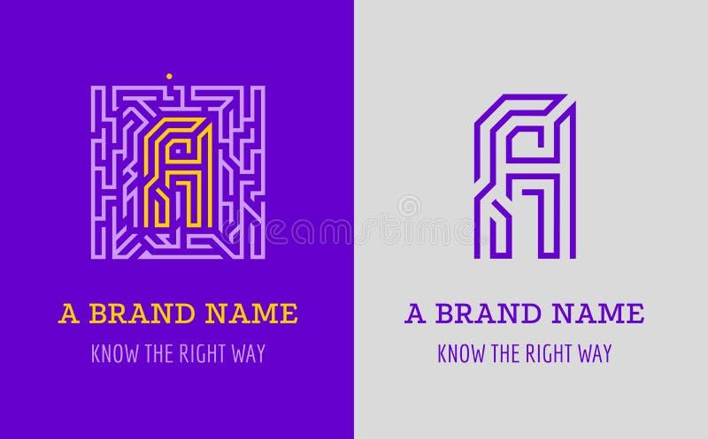 En bokstavslogolabyrint Idérik logo för företags identitet av företaget: bokstav A Logoen symboliserar labyrinten, val av den hög royaltyfri illustrationer