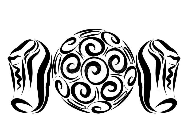 En boll med en idérik modell av spiral och sportskor vektor illustrationer