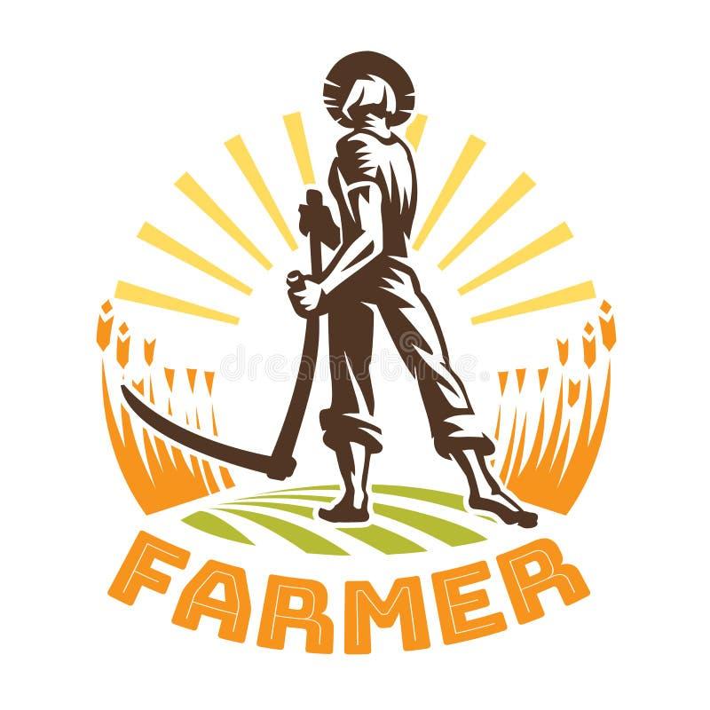 En bonde med en lie i ett fält stock illustrationer