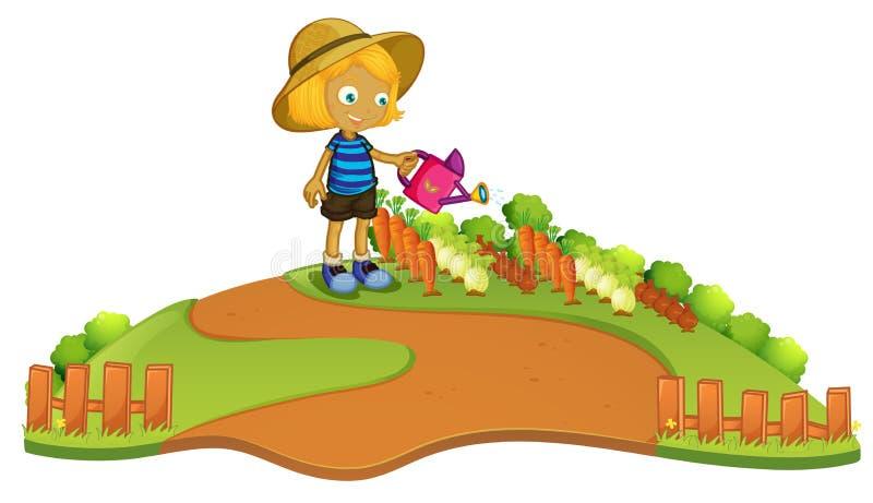 En bonde som bevattnar växten stock illustrationer