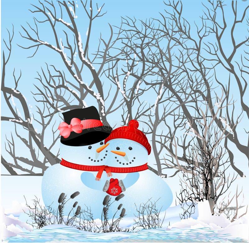 En bonhommes de neige d'amour illustration libre de droits