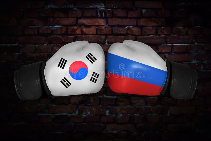 En boxningmatch mellan USA och Ryssland arkivfoton