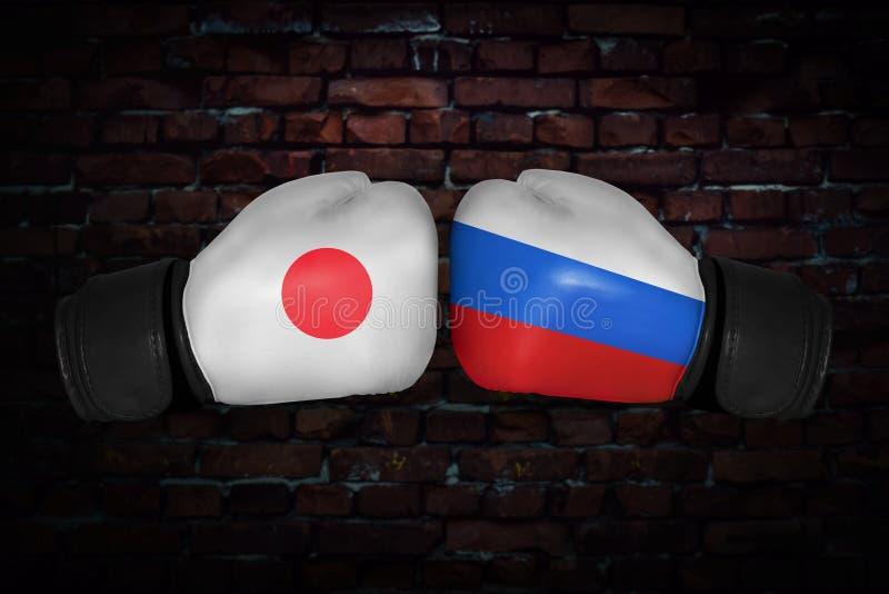En boxningmatch mellan USA och Ryssland royaltyfri foto