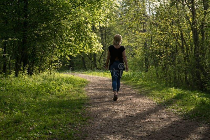 En bra dag för går och glädjen av friskheten av luften och naturen arkivbilder