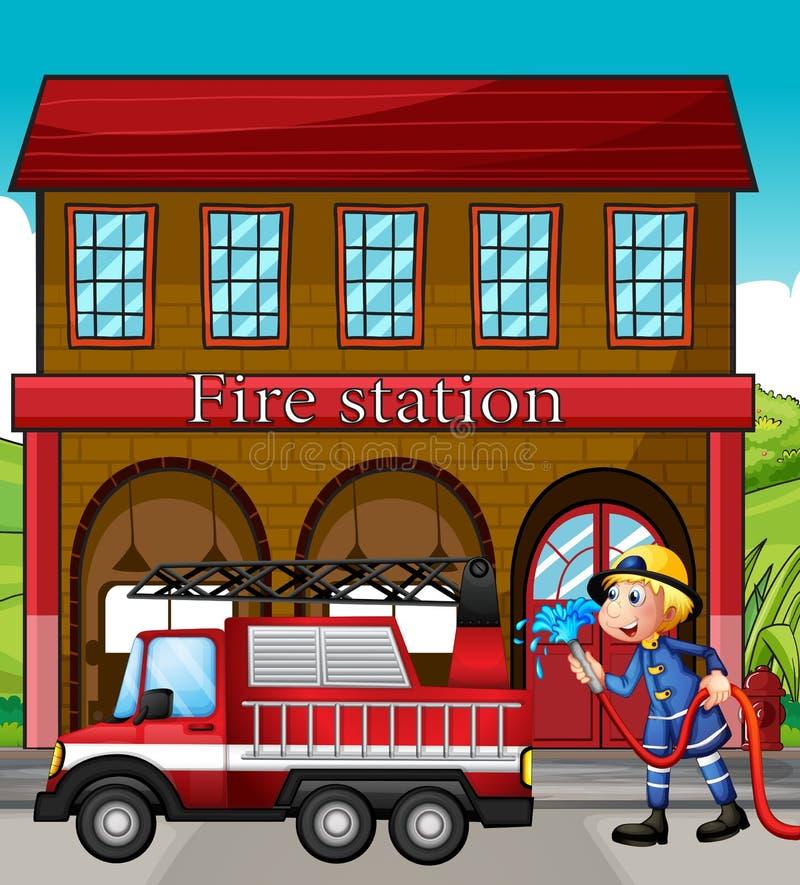 En brandman och en brandlastbil framme av brandstationen royaltyfri illustrationer