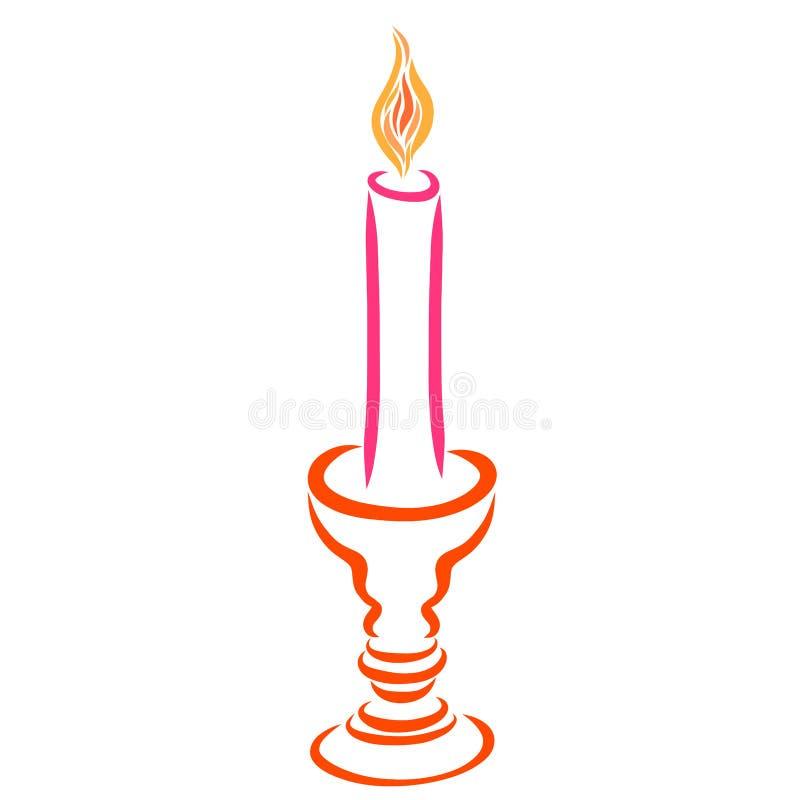 En brinnande stearinljus i en härlig ljusstake vektor illustrationer