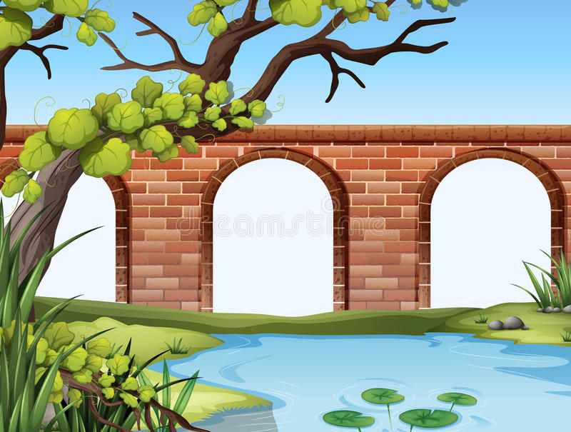 En bro och ett damm royaltyfri illustrationer