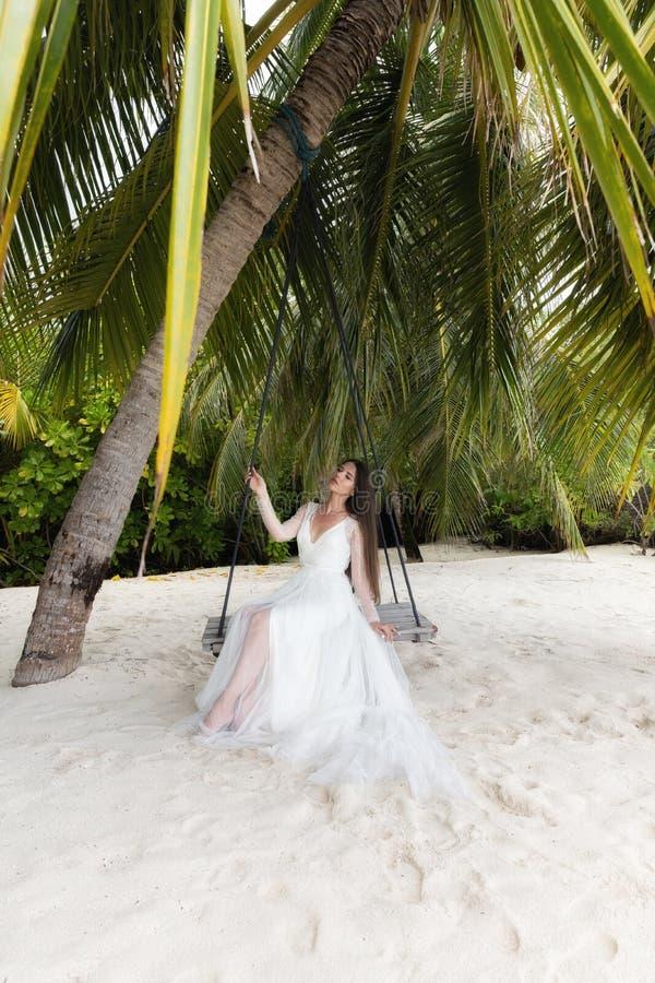En brud i en vit klänning rider på en gunga under en stor palmträd arkivbilder