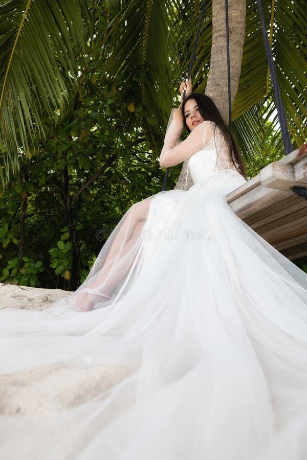 En brud i en vit klänning rider på en gunga under en stor palmträd royaltyfria bilder