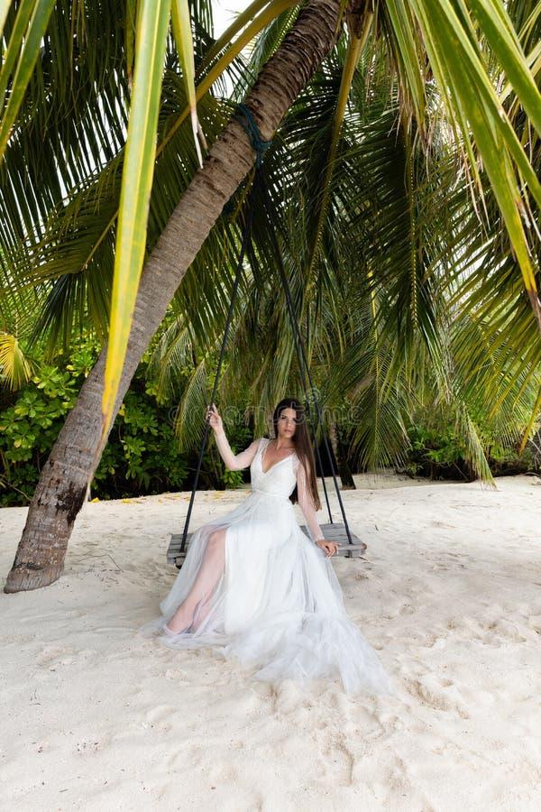 En brud i en vit klänning rider på en gunga under en stor palmträd fotografering för bildbyråer