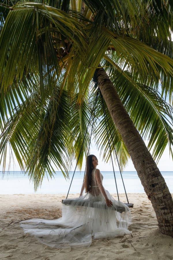 En brud i en vit klänning rider på en gunga under en stor palmträd royaltyfri bild