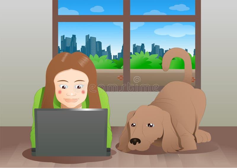 en brun hund och en kvinna som lär bärbara datorn vektor illustrationer