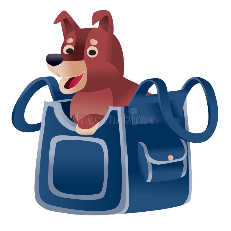 En brun hund som sitter i en blå bärare och som väntar när han reser med flygplan eller tåg, ett isolerat föremål på en vit royaltyfri illustrationer