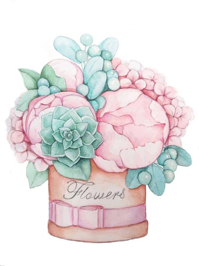 En bukett av blommor i en rund askhandteckning stock illustrationer