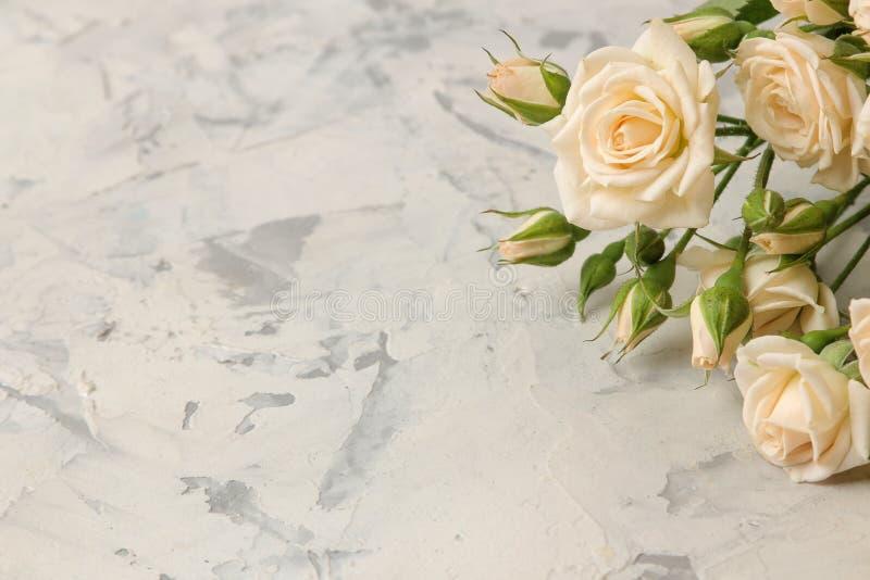En bukett av härliga mjuka mini- rosor på en ljus konkret bakgrund Utrymme för text royaltyfri foto
